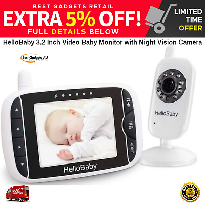 HELLOBABY 3.2 Inch Video Baby Monitor With Night Vision Camera NEW