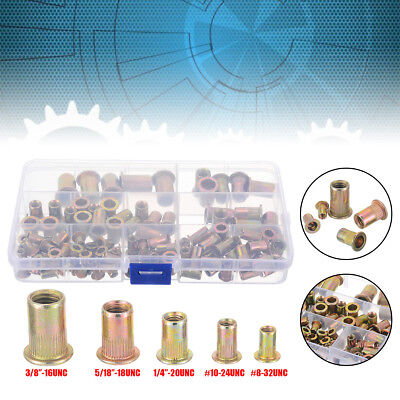 115Pcs Nut Rivet Threaded Insert Kit Rivnut Nutsert Riveter Hand Riveting & Box