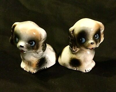 Vintage Pair of Blue Eyed Puppy Dog Salt & Pepper Shakers ~ Made in Japan