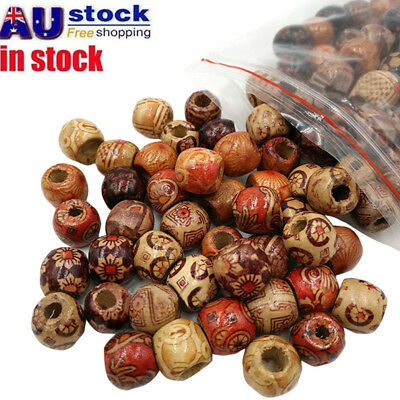 AU 200Pcs 10mm Natural Wooden Beads Barrel Round Ethnic Boho DIY Craft Macrame