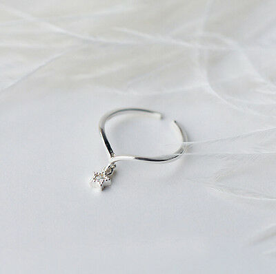 925 Sterling Silver Women CZ Star Dainty Knuckle Midi Toe Ring Size 3.5 A3778