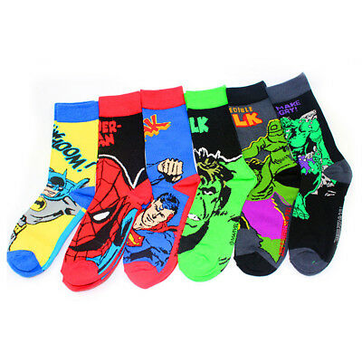1 Pairs Mens Cotton Socks MARVEL COMICS Super Hero Casual Dress Knee Socks 9-12