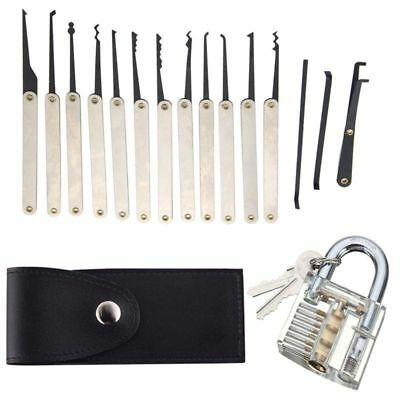12-tlg Lockpicking Set Schlosser Dietriche Kit+ Übungsschloss Profi Pick-Set