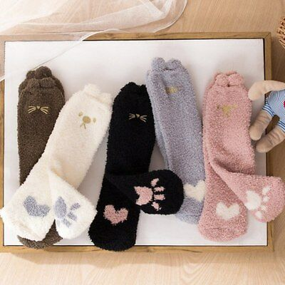 Cat Bread Fluffy Ears Home Slipper Floor Socks Woman Winter Coral Velvet Socks