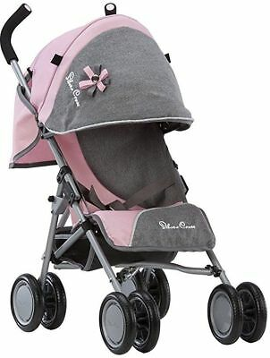 Baby Doll Stroller Silver Cross Pop Dolls Pushchair Pink Fabric Kids Child Toy