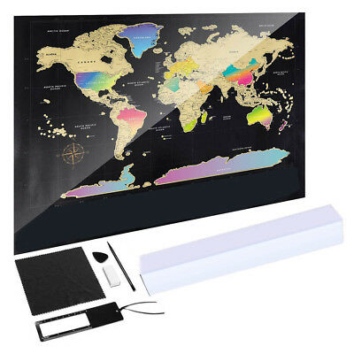 World Map Scratch Off Travel Scratch for Map Room Home Decor NEW