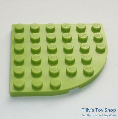 Green x2 6003 Lego Plates Rounded Corner 6x6
