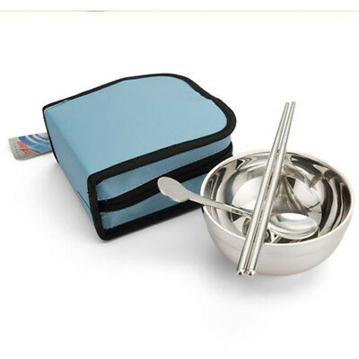 Outdoor Bowl Chopsticks Spoon Cutlery Set For Picnic with Tableware Bag one