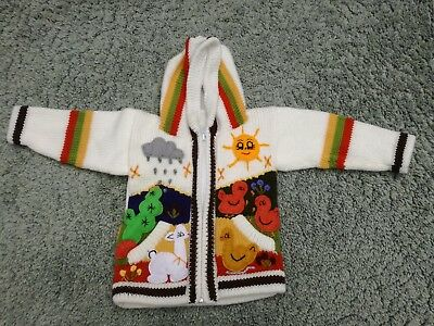 Traditional Peruvian children embroidered jumper with animals on