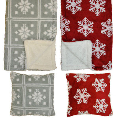 "Super Soft Snowflake Fleece Grey or Red Throw - 59x79"" (150x200cm) WARM BLANKET"