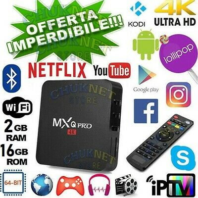 Smart Tv Box Mxq Pro Wifi Android 8.1 4K 2Gb Ram 16Gb Rom Quad Core Telecomando