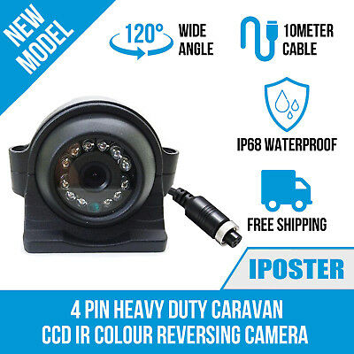 4 Pin Heavy Duty 12-24V CCD Side View Color Camera 12 IR LEDs IP68+10M For Truck