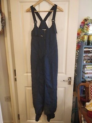 VINTAGE Navy Blue Salopettes Size 38 XS ski Trousers Pants All In One w25