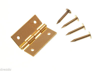 2 Pairs ( 4 ) Solid Brass Jewelry Box Mini Hinges 25Mm 1 Inch Pins Included