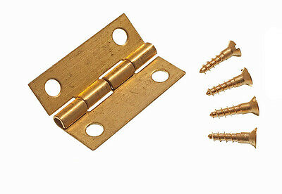 Set of 10  Brass 25Mm  Mini Hinges For Jewelry Boxes With Pins
