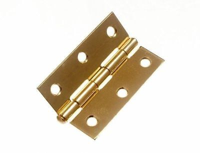 "* Pair Of Loose Pin Steel Butt Brass Plated Hinges 75Mm 3"" & Screws 11C3"