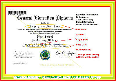 Download Only Within 24 Hours - Semi Custom Ged Diploma & Transcript - Lowest $$