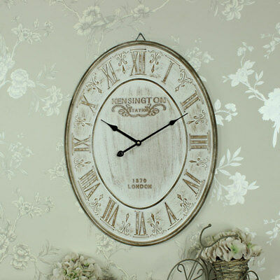 Large vintage oval cream wall clock shabby country chic Kensington gift home