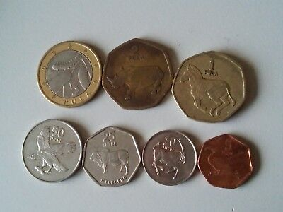 Botswana set of 7 coins 5+2+1 pula 50+25+10+5 thebe 1997-2009