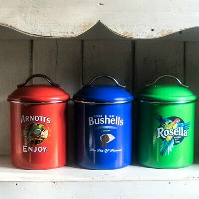 Cannisters, set of three Australian icon advertising brands