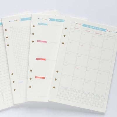 Diary Weekly Monthly Refill Inner Paper List Plan do A5 A6 Page Notebook Planner