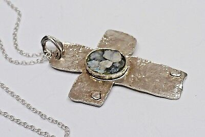 A44) Sterling Silver Cross From Israel w/ Ancient Stone Pendant - .925 Chain