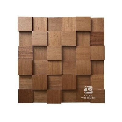 Natural Solid Wood Wall Panel Eucalyptus Cube Smooth Decor 3D Tiles Sample