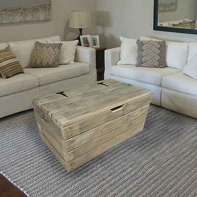 RUSTIC WOODEN COFFEE TABLE TRUNK - chest toy box vintage handmade shabby chic