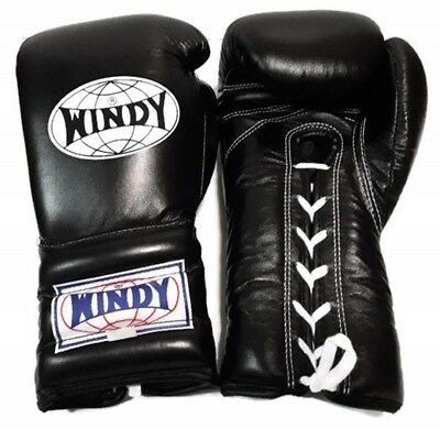 Windy Boxing Gloves Lace Up Bgl Black 14 Oz. Muay Thai  Mma Ships By Dhl Express