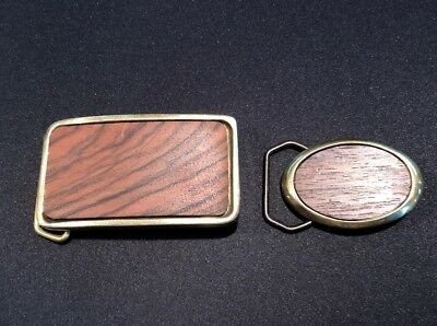 Vtg Baron Buckles Belt Buckles 1983 Baron Solid Brass RARE BB5 SBPE Wood Oval