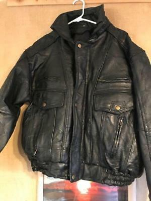 Navarre Leather Company Italian Stone Design men's black bomber jacket size M