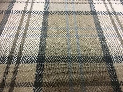 Afton Check/ Tartan Upholstery Fabric ( M&s ) Natural ( Latte ) £8.99 Per Metre