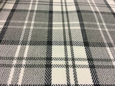 Afton Check/ Tartan Upholstery Fabric ( M&s ) Grey ( Granite ) £8.99 Per Metre