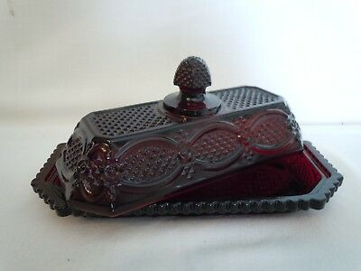 Avon - 1876 Cape Cod Collection Covered Butter Dish, Ruby Red