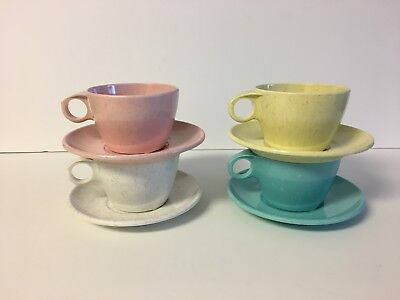 Set Of 4 Speckled Imperial Ware Melmac Cups And Saucers