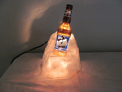 Vintage Miller Lite Ice Lighted Beer Bottle in Ice Lights Up 1990's