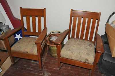 Stickley Two Antique rockers Mission Oak Vintage Rocking Chairs