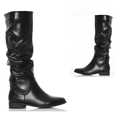 Womens Ladies Knee High Calf Ruched Flat Low Heel Black Boots Shoes Size
