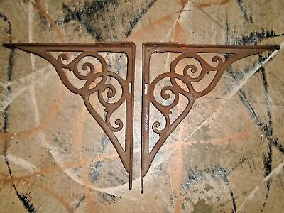Antique Pair of Heavy Cast Iron Brackets