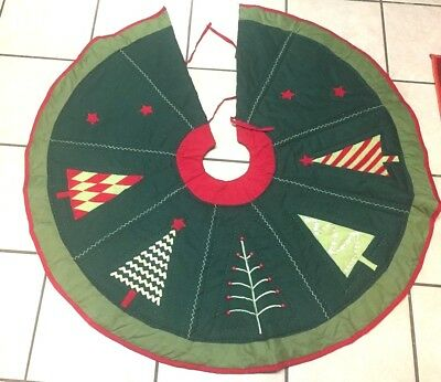 Vintage QUILTED Embellished CHRISTMAS TREES Green Red Green Dark Green SKIRT!!