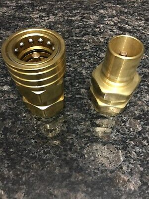 Parker 1-1/2 Inch Brass Quick Connect Fitting Pair BH12-60N + BH12-61N
