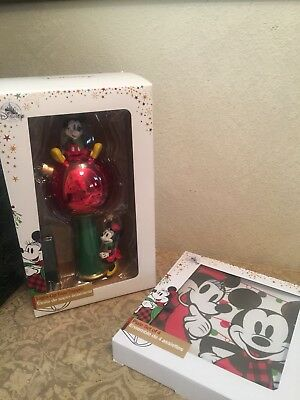Disney Store Mickey and Minnie Mouse Light Up  Christmas Tree Topper + Plates