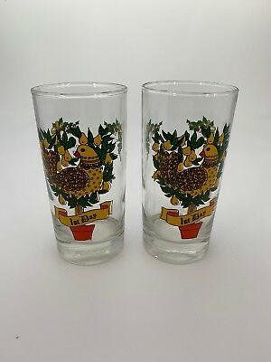 12 Days of Christmas Two Drinking Tumbler Glasses Extra Replacement 1st Day