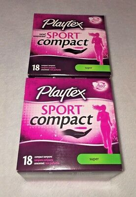 (2) Playtex Sport Compact Super Absorbency Tampons Unscented 18 count (36 total)