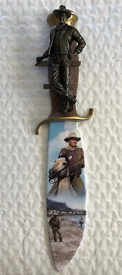 """Bradford Exchange John Wayne """"The Cowboy"""" Fifth Issue In Knife Collection"""