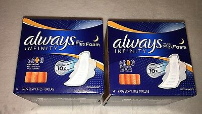 (2) 14 count Always Infinity Flex Foam Overnight with Wings Pads 28 total NEW