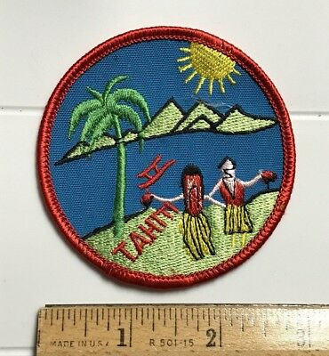 Tahiti French Polynesia Tahitian Dancers Tropical Island Souvenir Round Patch