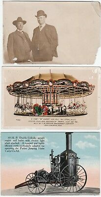 ARCHIVE  C W Parker Amusement Co 6 Real Photos 1910 RPPC Carousel Leavenworth KS
