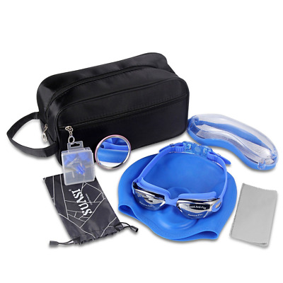 Swimming Goggles Set with Swim Goggles Elastic Swim Caps,Earplugs and Nose Clip