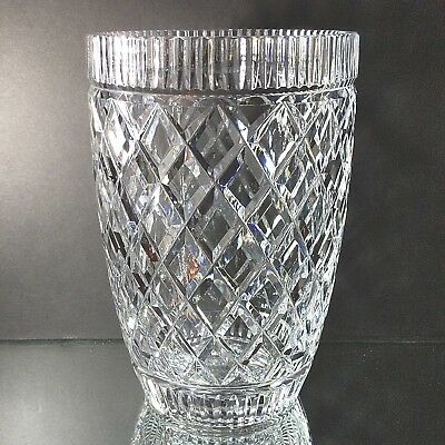 """WATERFORD Giftware 8"""" Cut Crystal Bouquet Vase Gothic Mark Made in Ireland"""